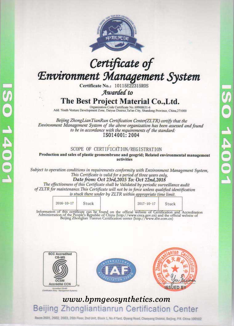 geodrid ISO14001 certificates