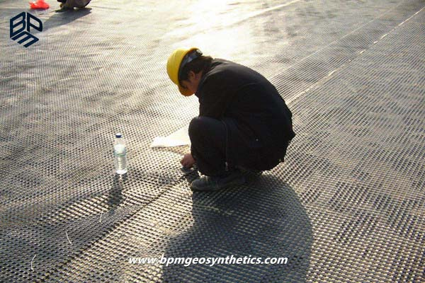 Warp Knitting Polyester Geogrid for Railway Project